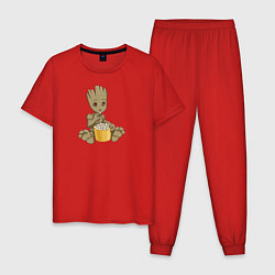 Пижама хлопковая мужская Малыш Грут цвета красный — фото 1