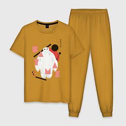 Пижама хлопковая мужская Бэймакс цвета горчичный — фото 1