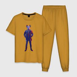 Пижама хлопковая мужская Вотч Догс Легион цвета горчичный — фото 1