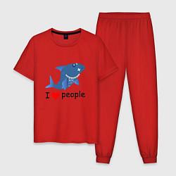 Пижама хлопковая мужская Добрая акула цвета красный — фото 1