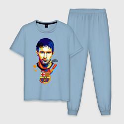 Пижама хлопковая мужская Barcelona FC цвета мягкое небо — фото 1