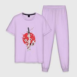 Пижама хлопковая мужская Катана на фоне сакуры Z цвета лаванда — фото 1