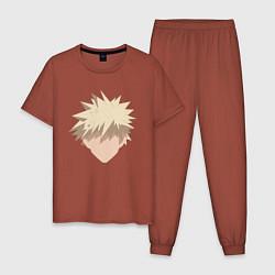 Пижама хлопковая мужская Katsuki stan цвета кирпичный — фото 1