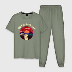 Пижама хлопковая мужская Лучший день цвета авокадо — фото 1