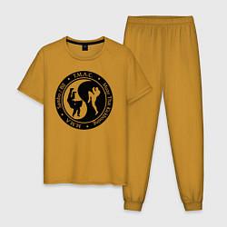 Пижама хлопковая мужская MMA цвета горчичный — фото 1