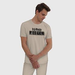 Пижама хлопковая мужская Моя геройская академия цвета миндальный — фото 2