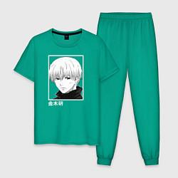 Пижама хлопковая мужская Кен Канеки цвета зеленый — фото 1