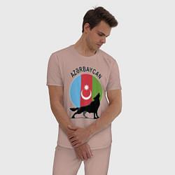 Пижама хлопковая мужская Азербайджан цвета пыльно-розовый — фото 2