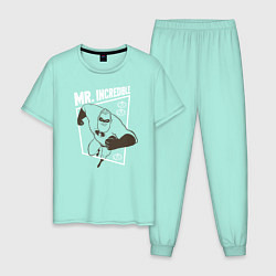 Пижама хлопковая мужская Суперсемейка цвета мятный — фото 1