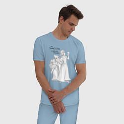 Пижама хлопковая мужская Белоснежка и яблоко цвета мягкое небо — фото 2