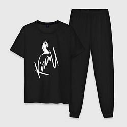 Пижама хлопковая мужская Haunted Family лейбл Kizaru цвета черный — фото 1