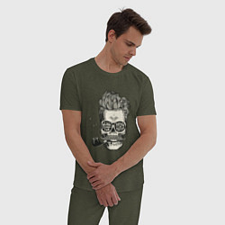 Пижама хлопковая мужская Стильный барбер цвета меланж-хаки — фото 2