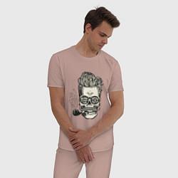 Пижама хлопковая мужская Стильный барбер цвета пыльно-розовый — фото 2