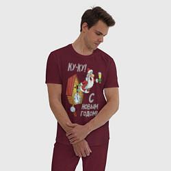 Пижама хлопковая мужская Ку-ку! С Новым годом! цвета меланж-бордовый — фото 2