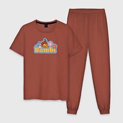 Пижама хлопковая мужская Бэмби цвета кирпичный — фото 1