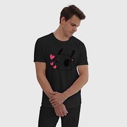 Пижама хлопковая мужская Зая цвета черный — фото 2