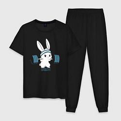 Пижама хлопковая мужская Физкульт - привет! цвета черный — фото 1