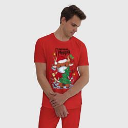 Пижама хлопковая мужская Новый Год в маске цвета красный — фото 2
