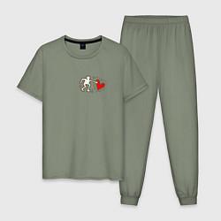 Пижама хлопковая мужская Heart цвета авокадо — фото 1