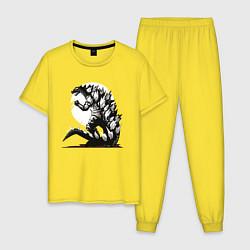Пижама хлопковая мужская Годзилла цвета желтый — фото 1
