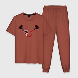 Пижама хлопковая мужская Asta devil цвета кирпичный — фото 1