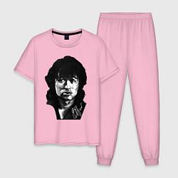 Пижама хлопковая мужская ВИКТОР ЦОЙ АВТОГРАФ цвета светло-розовый — фото 1
