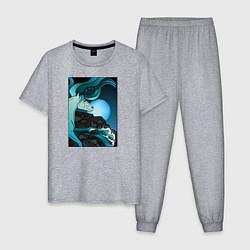 Пижама хлопковая мужская Водяная лошадка цвета меланж — фото 1