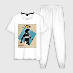 Пижама хлопковая мужская Марадона GOAT цвета белый — фото 1