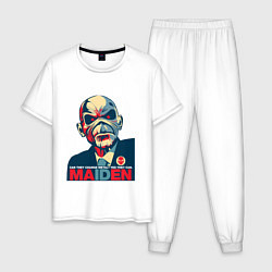 Пижама хлопковая мужская Iron Maiden eddie цвета белый — фото 1