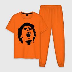 Пижама хлопковая мужская Диего Марадона Барселона цвета оранжевый — фото 1