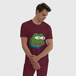 Пижама хлопковая мужская Pepe MonkaS цвета меланж-бордовый — фото 2