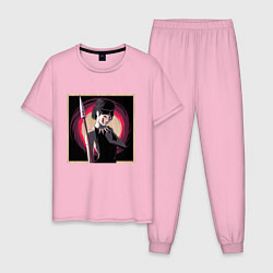 Пижама хлопковая мужская Принцесса Мононоке цвета светло-розовый — фото 1