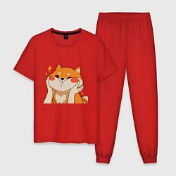 Пижама хлопковая мужская Сиба Ину Милые Щечки цвета красный — фото 1