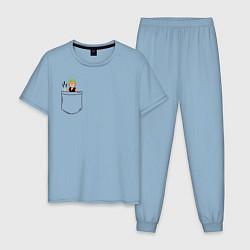 Пижама хлопковая мужская One piece цвета мягкое небо — фото 1