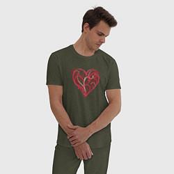 Пижама хлопковая мужская Ветвистое Сердце цвета меланж-хаки — фото 2