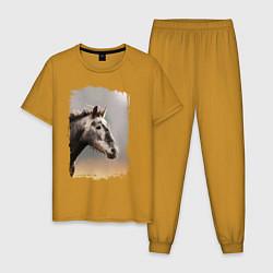 Пижама хлопковая мужская Лошадка цвета горчичный — фото 1
