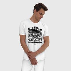 Пижама хлопковая мужская Сахалин - остров мечты цвета белый — фото 2