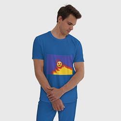 Пижама хлопковая мужская Ты горишь как огонь v1 цвета синий — фото 2