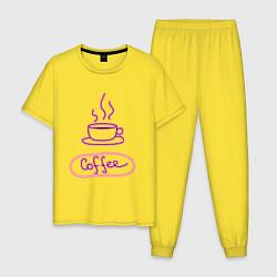 Пижама хлопковая мужская Кофе цвета желтый — фото 1