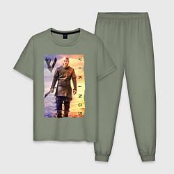 Пижама хлопковая мужская Викинги Рагнар Vikings Z цвета авокадо — фото 1
