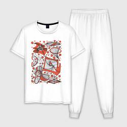 Пижама хлопковая мужская Кинетическая скульптура цвета белый — фото 1