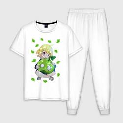 Пижама хлопковая мужская Суйка цвета белый — фото 1