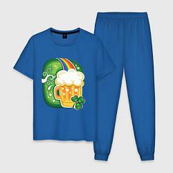Пижама хлопковая мужская Традиционное питье на Патрика цвета синий — фото 1