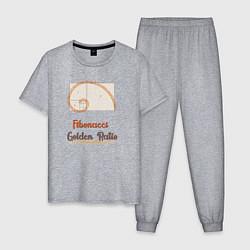 Пижама хлопковая мужская Fibonacci Золотое сечение цвета меланж — фото 1