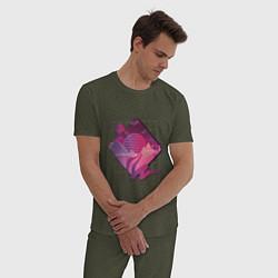 Пижама хлопковая мужская Пейзаж в стиле Retrowave цвета меланж-хаки — фото 2