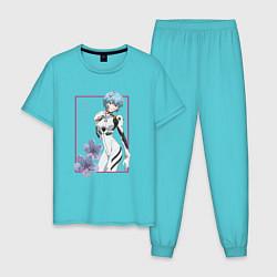 Пижама хлопковая мужская Рей Аянами Evangelion цвета бирюзовый — фото 1