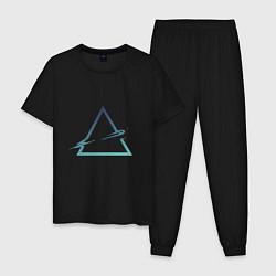 Пижама хлопковая мужская Абстрактный жидкий треугольник цвета черный — фото 1