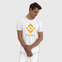 Пижама хлопковая мужская BINANCE БИНАНС БИРЖА цвета белый — фото 2