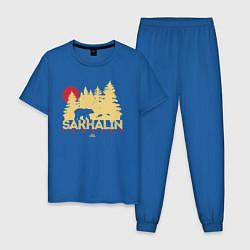 Пижама хлопковая мужская Sakhalin Forever цвета синий — фото 1