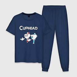 Пижама хлопковая мужская Cuphead цвета тёмно-синий — фото 1
